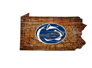 Penn State Nittany Lions Distressed State Logo Wood Sign