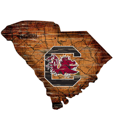 South Carolina Gamecocks Distressed State Logo Wood Sign