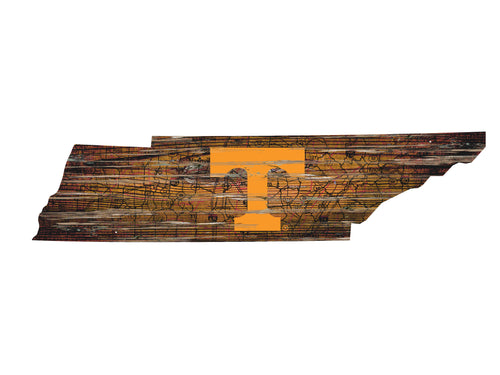 Tennessee Volunteers Distressed State Logo Wood Sign