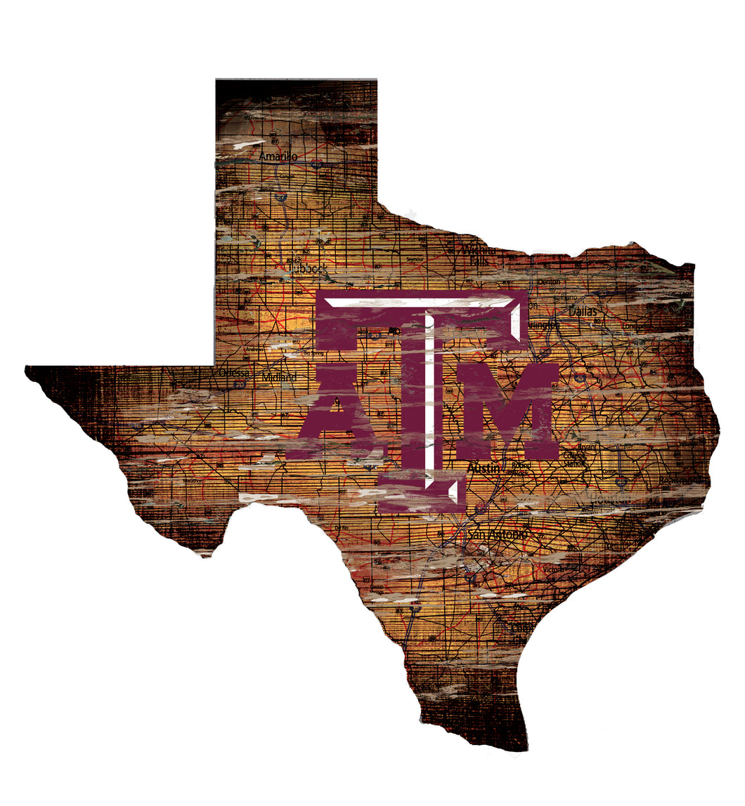 Texas A&M Aggies Distressed State Logo Wood Sign