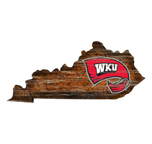 Western Kentucky Hilltopper Distressed State Logo Wood Sign