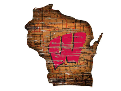 Wisconsin Badgers Distressed State Logo Wood Sign