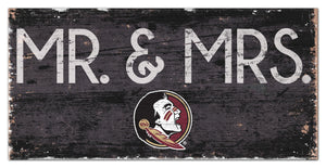 "Florida State Seminoles Mr. & Mrs. Wood Sign - 6""x12"""