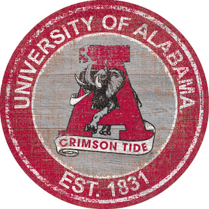 NCAA fan gear Alabama Crimson Tide state distressed wood logo round sign from Sports Fanz