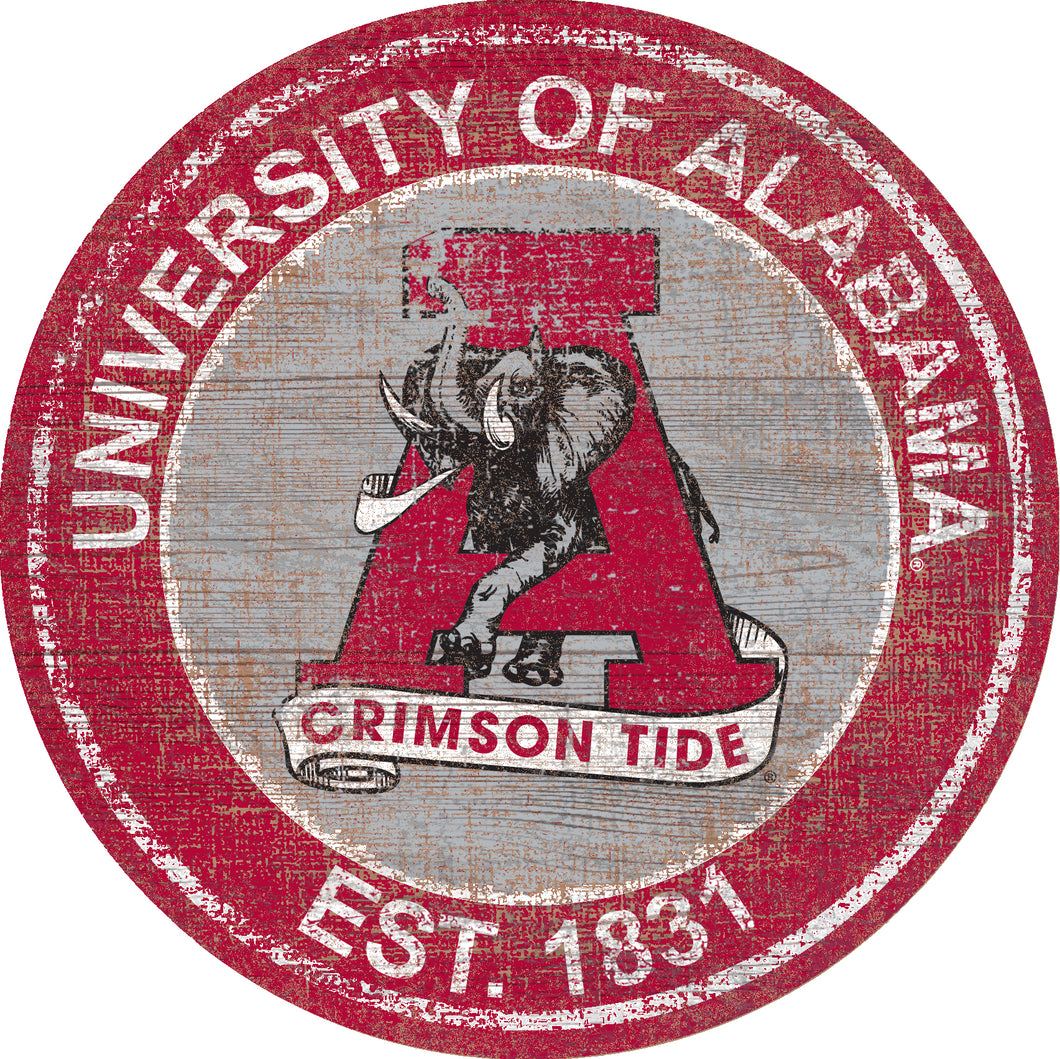 Alabama Crimson Tide Herritage Logo Round Wood Sign - 23.5