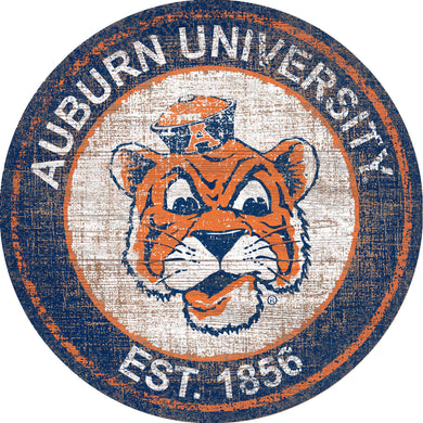 Auburn Tigers Herritage Logo Round Wood Sign - 23.5