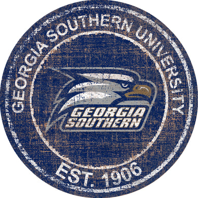 Georgia Southern Eagles Herritage Logo Round Wood Sign - 23.5