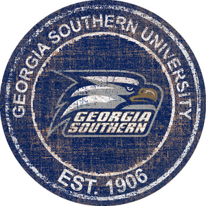 Georgia Southern Eagles Herritage Logo Round Wood Sign - 23.5""