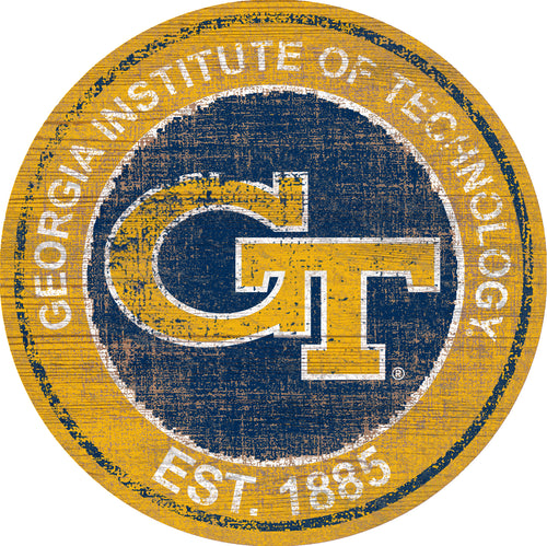 Georgia Tech Yellow Jackets Herritage Logo Round Wood Sign - 23.5