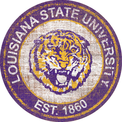LSU Tigers Herritage Logo Round Wood Sign - 23.5
