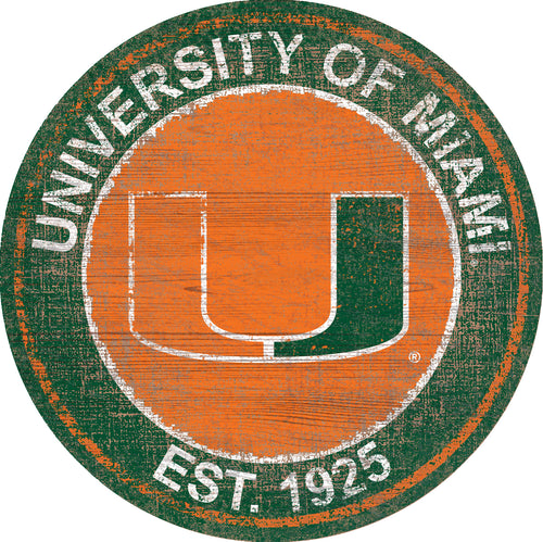Miami Hurricanes Herritage Logo Round Wood Sign - 23.5