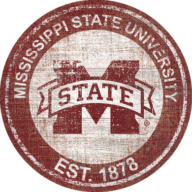 Mississippi State Bulldogs Heritage Logo Round Wood Sign - 23.5