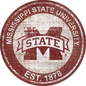Mississippi State Bulldogs Heritage Logo Round Wood Sign - 23.5""