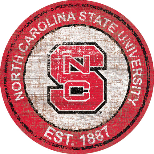 NC State Wolfpack Herritage Logo Round Wood Sign - 23.5
