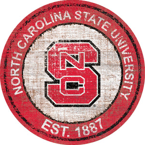 NC State Wolfpack Herritage Logo Round Wood Sign - 23.5""