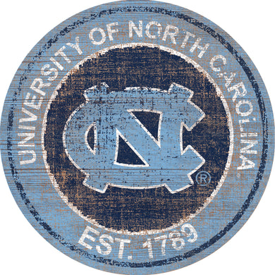 North Carolina Tar Heels Herritage Logo Round Wood Sign - 23.5