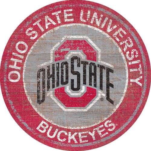 Ohio State Buckeyes Heritage Logo Round Wood Sign - 23.5