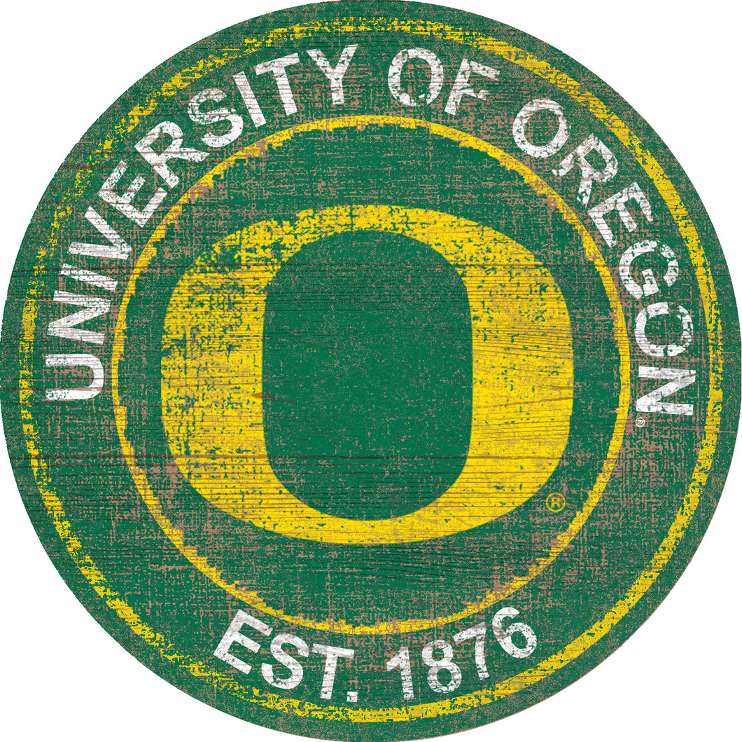 Oregon Ducks Herritage Logo Round Wood Sign - 23.5