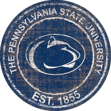 Penn State Nittany Lions Heritage Logo Round Wood Sign - 23.5