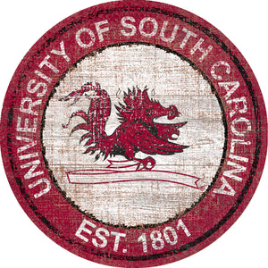 South Carolina Gamecocks Heritage Logo Round Wood Sign - 23.5""