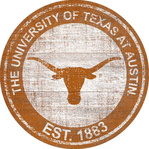 Texas Longhorns Heritage Logo Round Wood Sign - 23.5