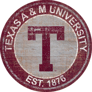 Texas A&M Aggies Heritage Logo Round Wood Sign - 23.5""