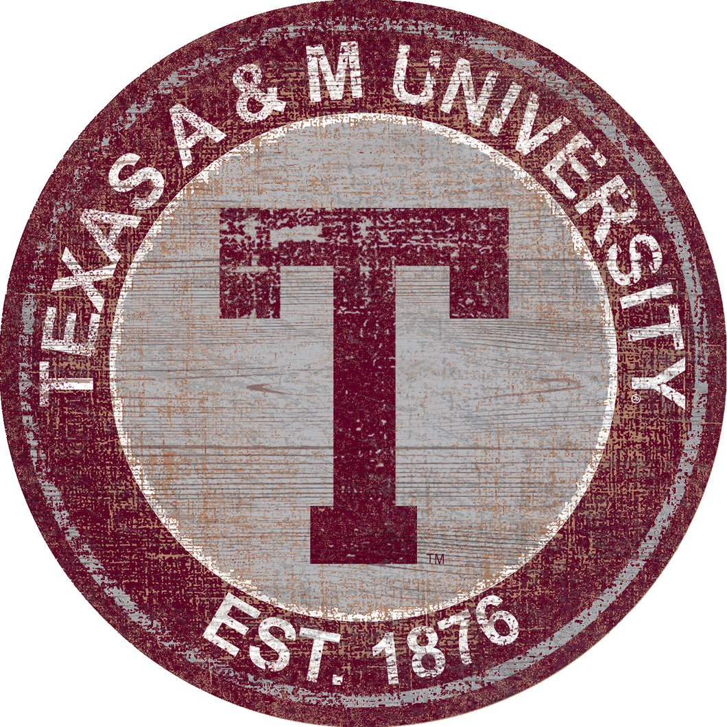 Texas A&M Aggies Heritage Logo Round Wood Sign - 23.5