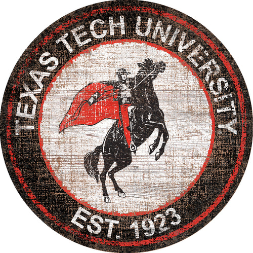 Texas Tech Red Raiders Heritage Logo Round Wood Sign - 23.5
