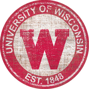 Wisconsin Badgers Heritage Logo Round Wood Sign - 23.5""
