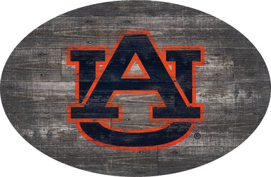 Auburn Tigers Distressed Wood Oval Sign