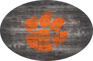 Clemson Tigers Distressed Wood Oval Sign