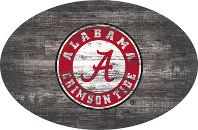 NCAA fan gear Alabama Crimson Tide state distressed wood oval sign from Sports Fanz