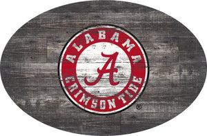 Alabama Crimson Tide Distressed Wood Oval Sign