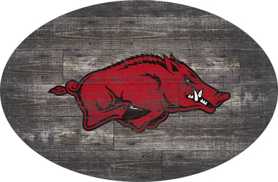 Arkansas Razorbacks Distressed Wood Oval Sign