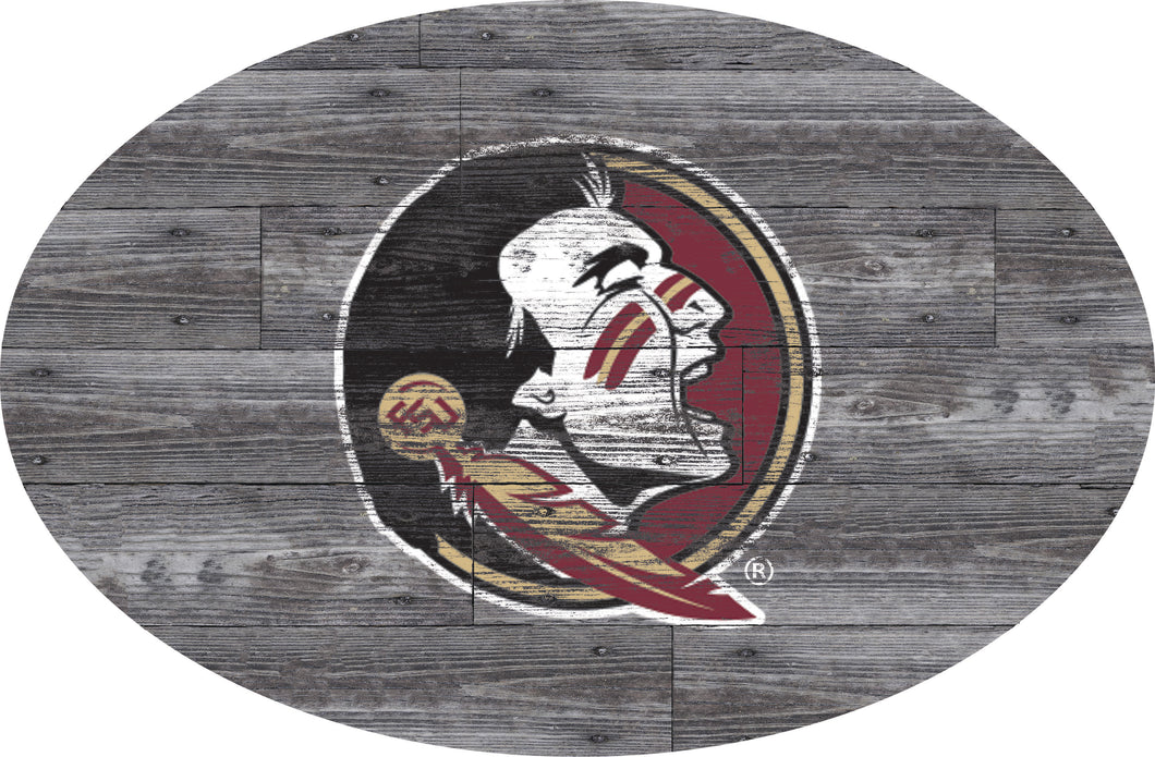 Florida State Seminoles Distressed Wood Oval Sign