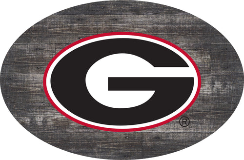 Georgia Bulldogs Distressed Wood Oval Sign