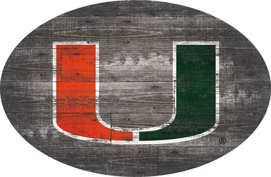 Miami Hurricanes Distressed Wood Oval Sign