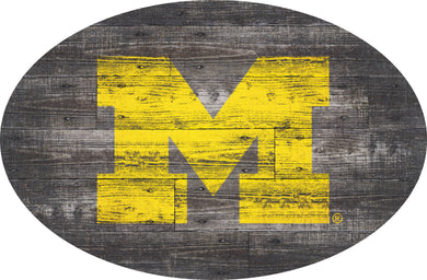Michigan Wolverines Distressed Wood Oval Sign