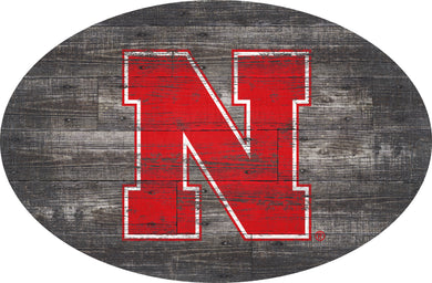 Nebraska Cornhuskers Distressed Wood Oval Sign