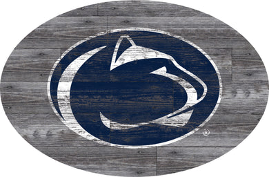 Penn State Nittany Distressed Wood Oval Sign