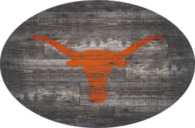 Texas Longhorns Distressed Wood Oval Sign