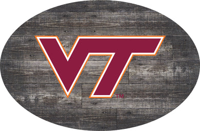 Virginia Tech Hokies Distressed Wood Oval Sign