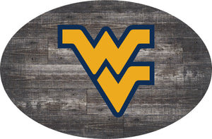 West Virginia Mountaineers Distressed Wood Oval Sign