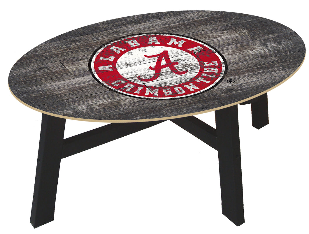NCAA fan gear Alabama Crimson Tide state distressed wood coffee table from Sports Fanz