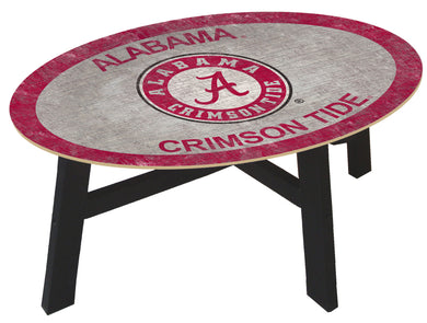 NCAA fan gear Alabama Crimson Tide color logo wood coffee table from Sports Fanz