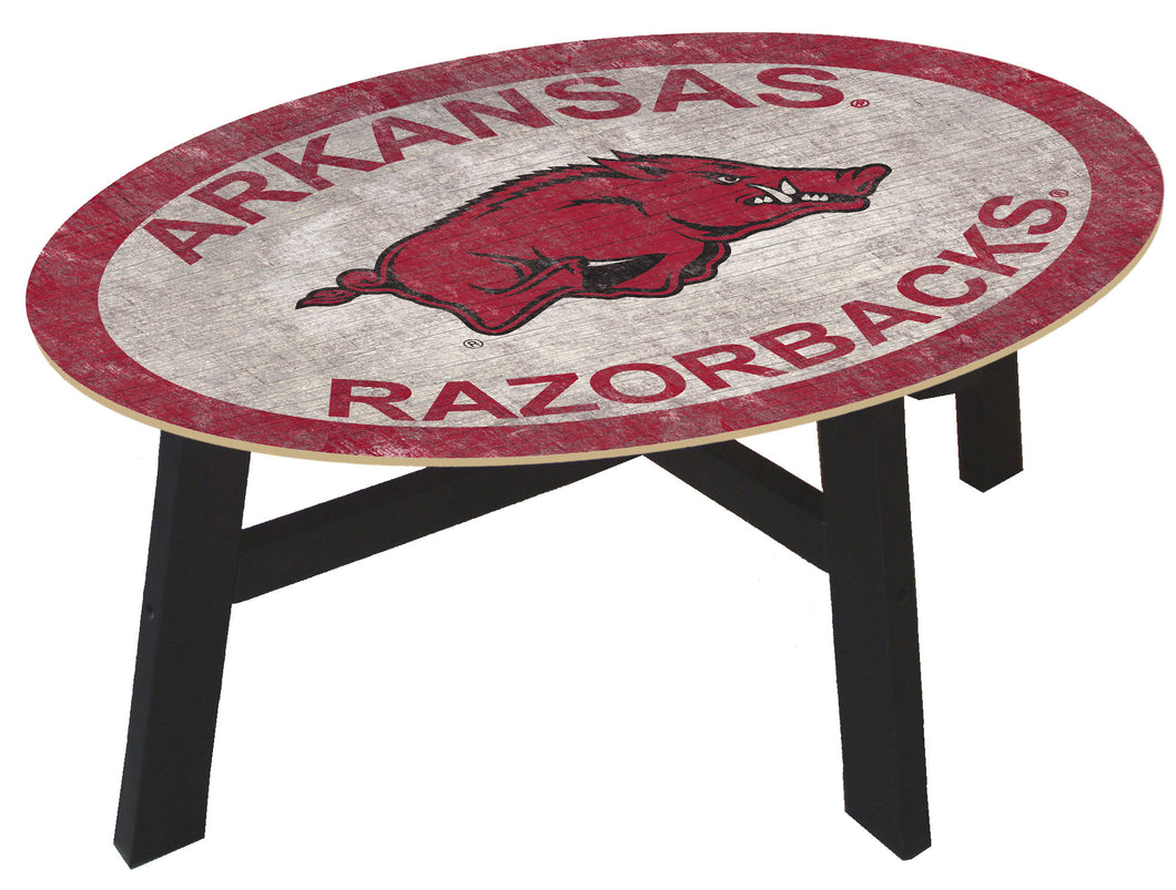 Arkansas Razorbacks Color Logo Wood Coffee Table
