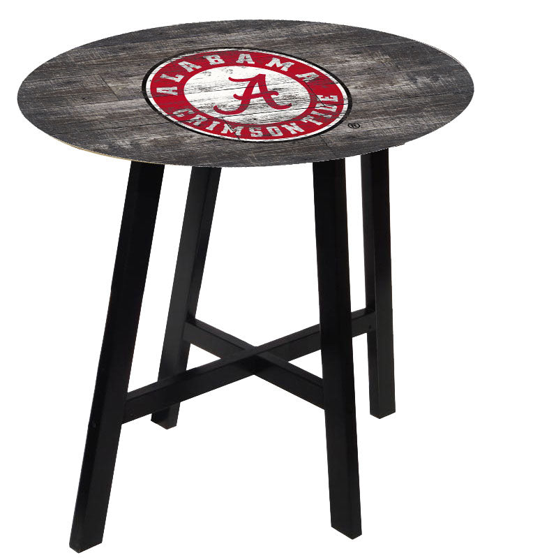 NCAA fan gear Alabama Crimson Tide state distressed wood pub table from Sports Fanz