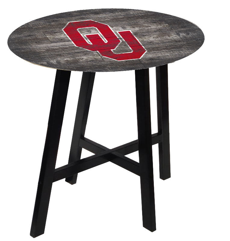 Oklahoma Sooners Distressed Wood Pub Table