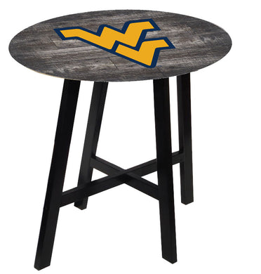 West Virginia Mountaineers Distressed Wood Pub Table