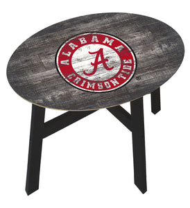 NCAA fan gear Alabama Crimson Tide state distressed wood side table from Sports Fanz